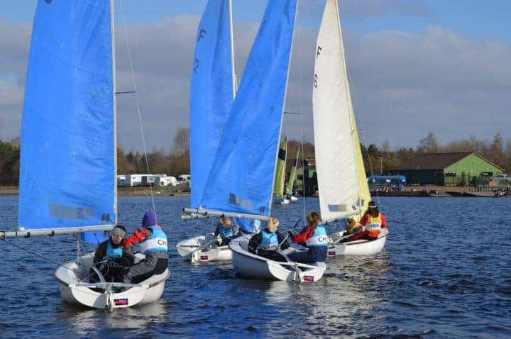 Photo of dinghies starting for Cambridge Ladies