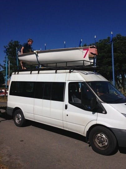 Photo of van and boat for pre-term activities at Grafham