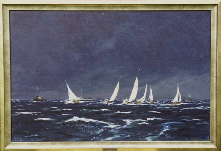 Sir Peter Scott painting of ailing dinghies